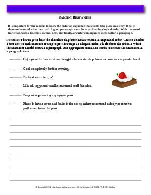 Worksheet Baking Brownies Use Appropriate Transition Words To