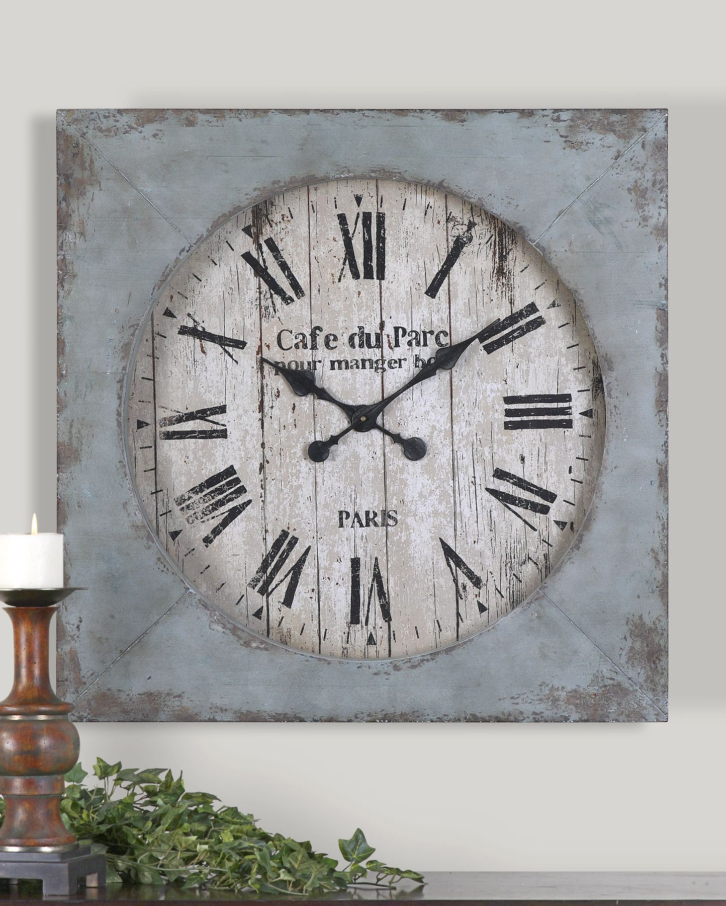 Distressed aged blue finish with rust undertones and an antiqued distressed aged blue finish with rust undertones and an antiqued clock face amipublicfo Images
