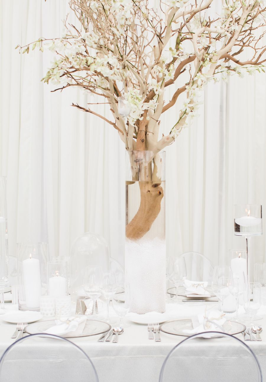Guests Wore White for this Glam Winter Wedding!   White napkins ...
