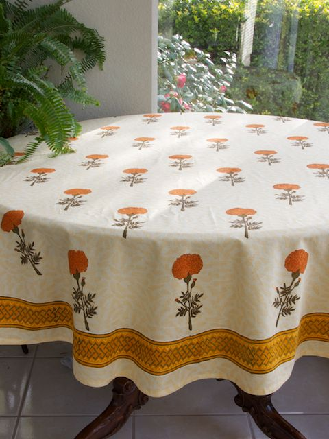 Delightful Wedding Day ~ Yellow Floral Round Indian Table Cloths