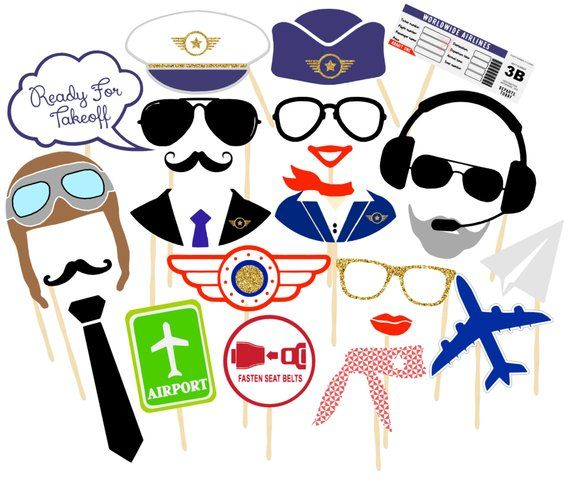 35 Pilot Party Props Airplane Party Diy Printable Photo Booth: Aviation Photo Booth