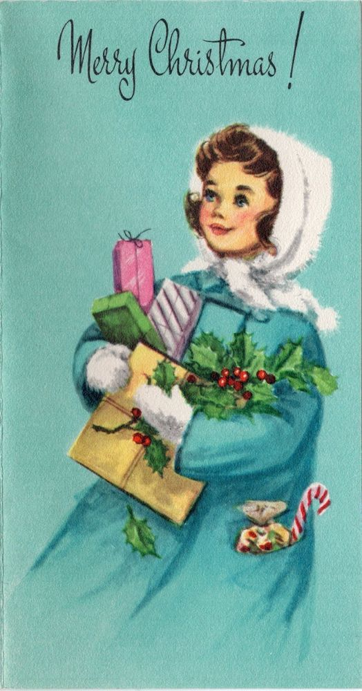 Unused Pretty Lady Girl Woman Aqua Gift Candy Cane VTG