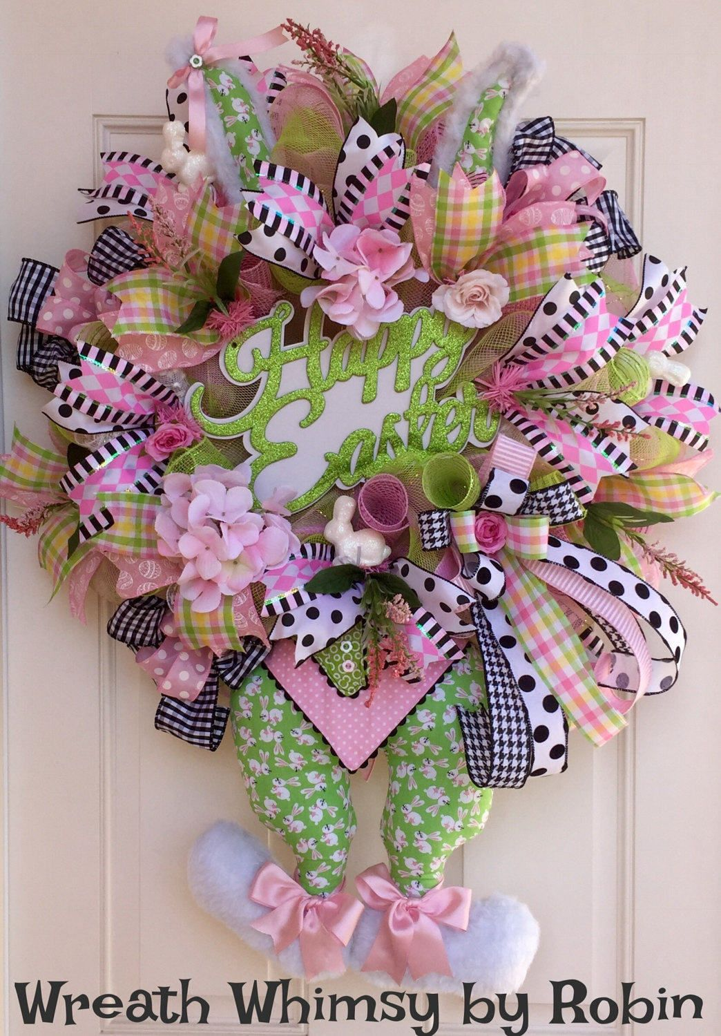 Easter Deco Mesh Bunny Wreath in Pink and Green, Spring Wreath ...