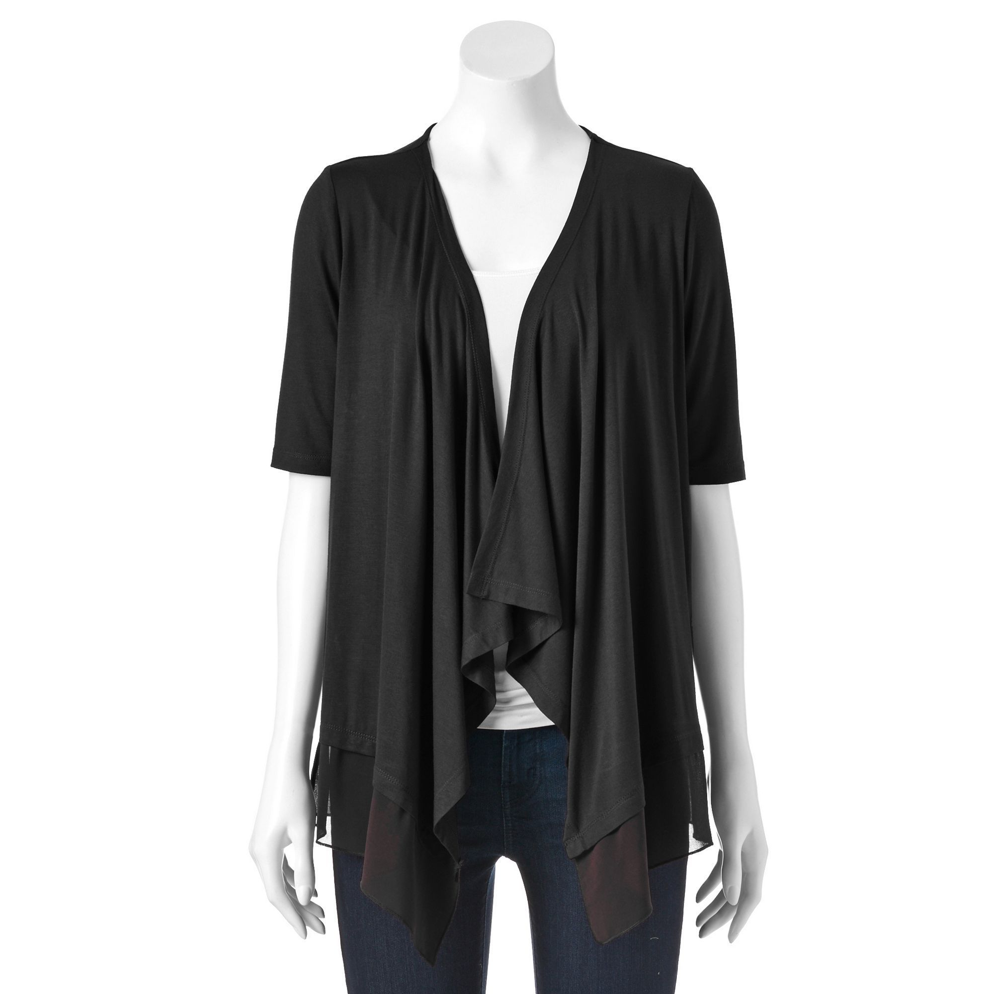 short basic draped front cardigan womens open drapes colors hanger solid sleeve itm by red