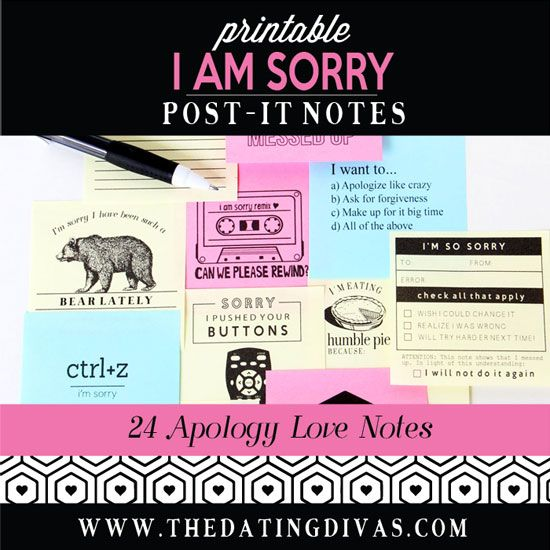 Printable Post-It Love Notes for saying Iu0027m Sorry Love Note - free printable apology cards
