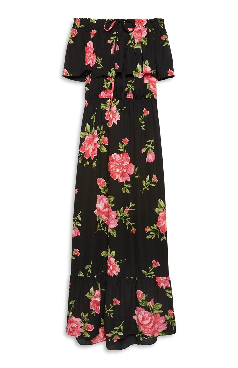 d59cba0aac Primark - Black Floral Print Bardot Maxi Dress