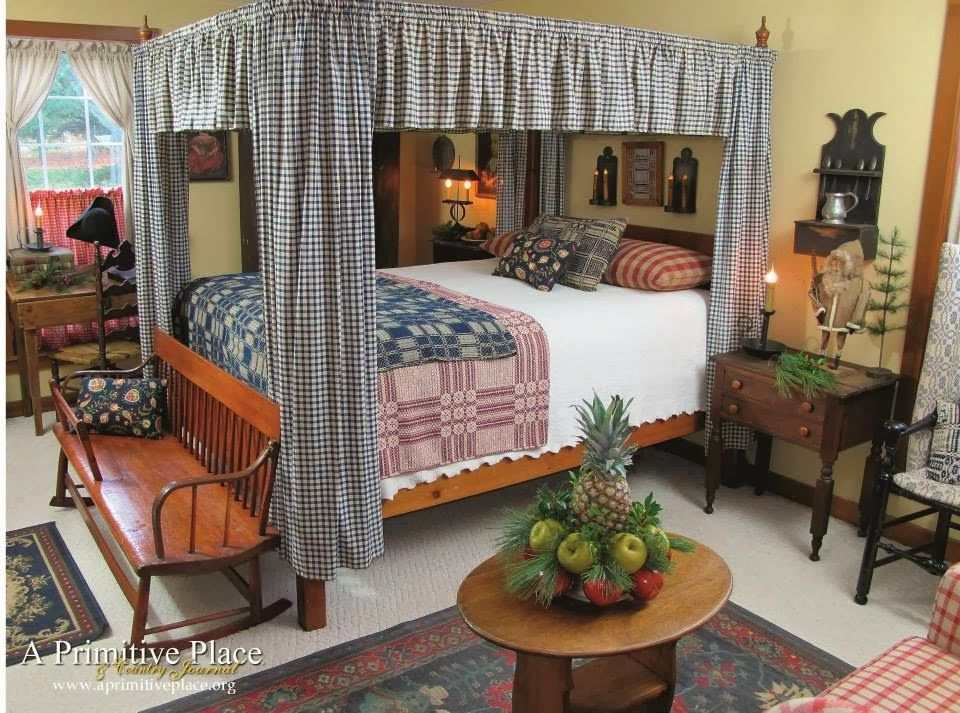 Prim perfect bedroom ... but i'll pass on the fruit. Sorry. ;)