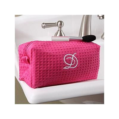 Personalized Cosmetic Bag - Pink Waffle Weave | Monogram ...