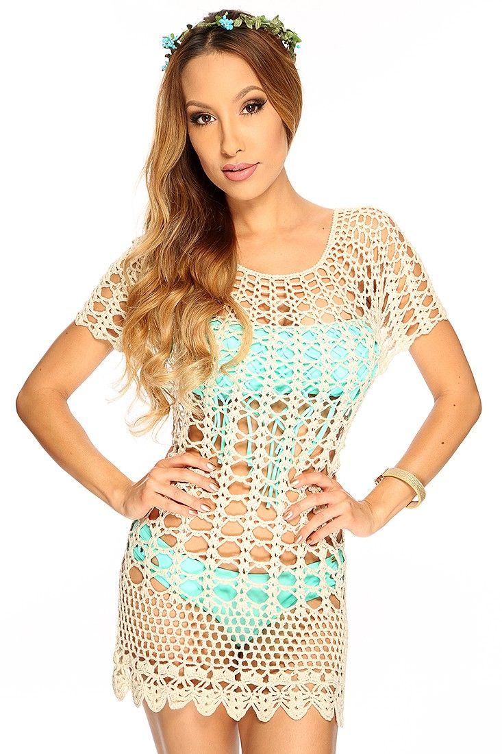 fbe3418c8186 Beige Scallop Crochet Short Sleeve Sexy Swimsuit Cover Up