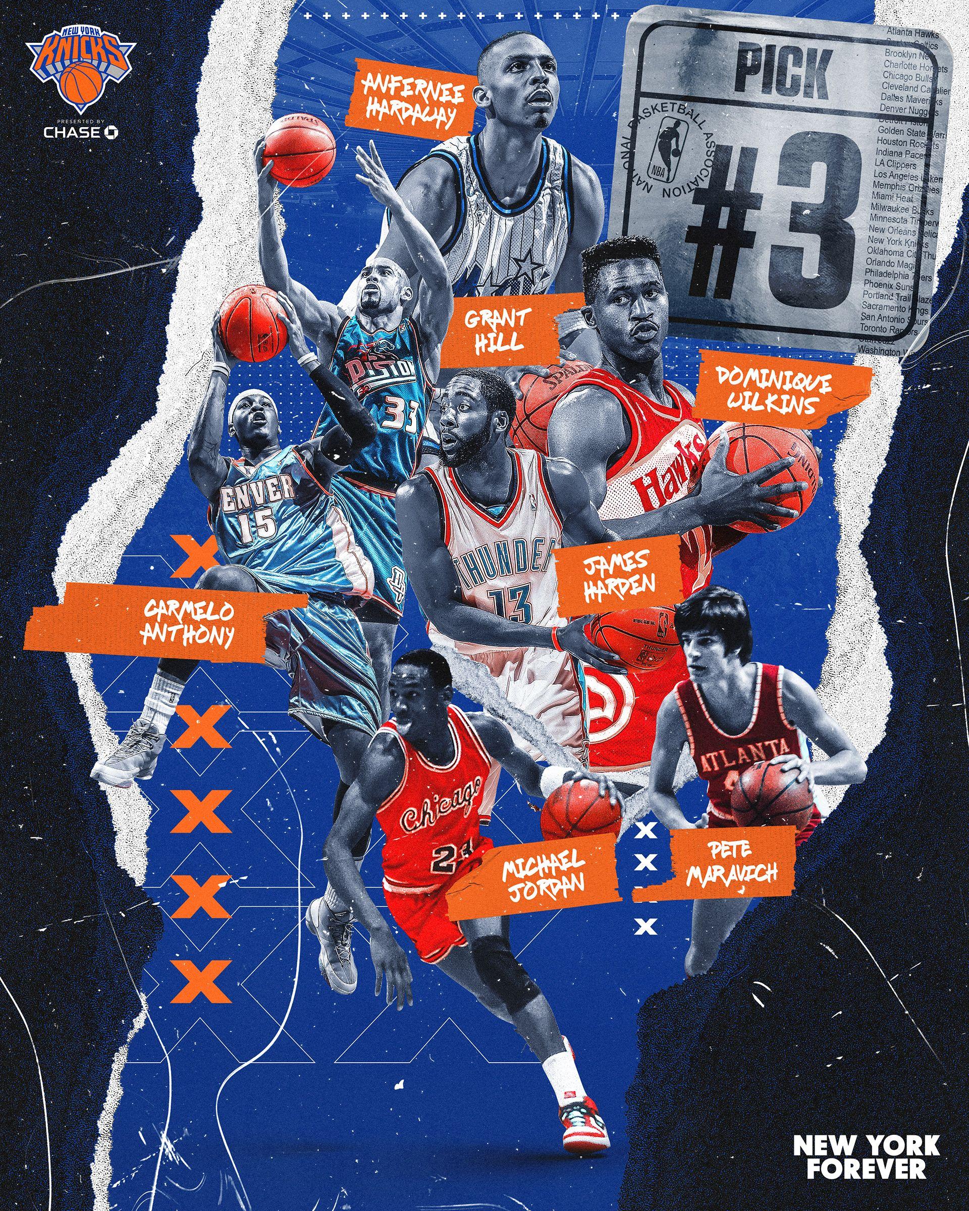 New York Knicks Former 3 Nba Draft Picks On Behance Sports Graphic Design New York Knicks Sports Design Inspiration