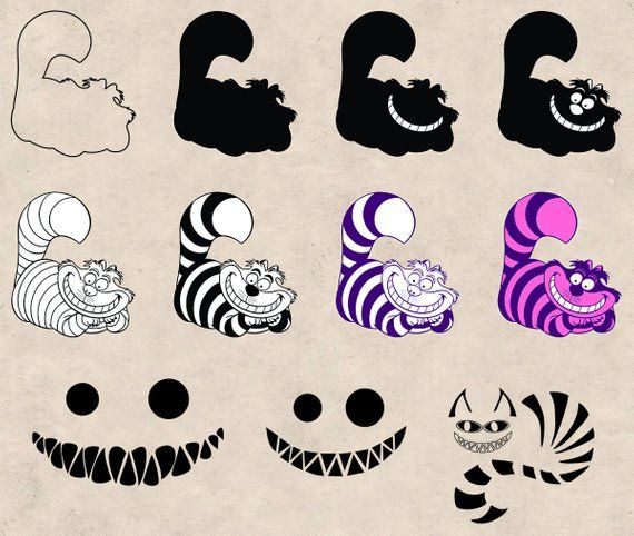 Download Cheshire Cat Clipart Pack, SVG, PNG, EPS Dxf, Vector ...