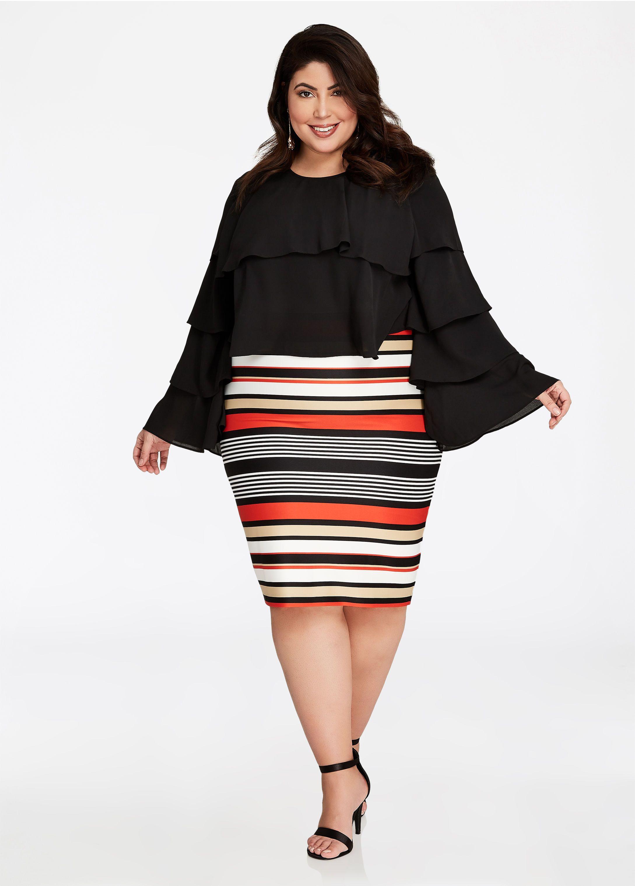 e3ed18d2b5f5 Multi Color Striped Pencil Skirt - Ashley Stewart