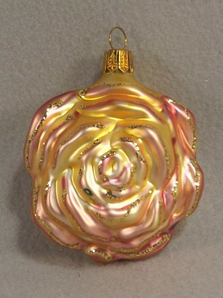 Rose Ornament Yellow Pink Whitehurst Christmas Any Occasion Glass