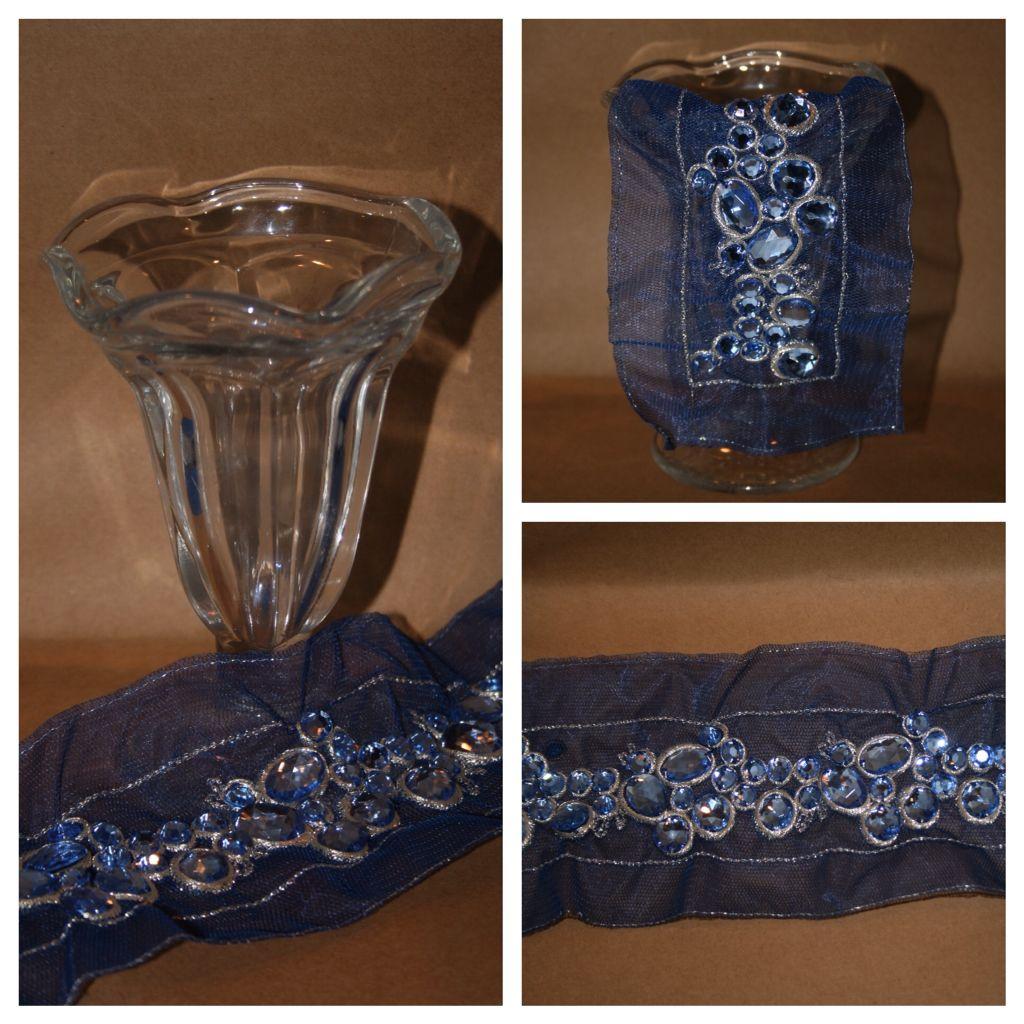 Royal blue bedazzled appliqué