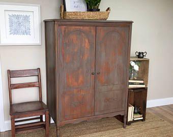 Vintage Armoire   Antique Chifferobe   Vintage Furniture   Armoire Wardrobe    Distressed Furniture   Shabby