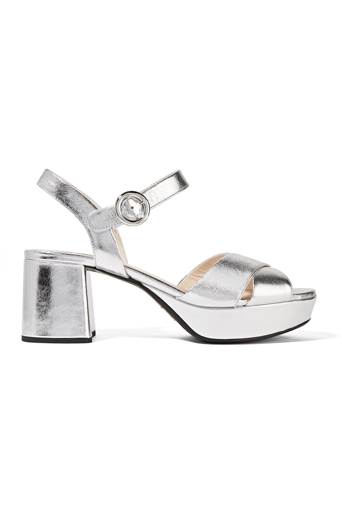 64f04b89882 PRADA Metallic leather platform sandals  685.00 https   www.net-a ...