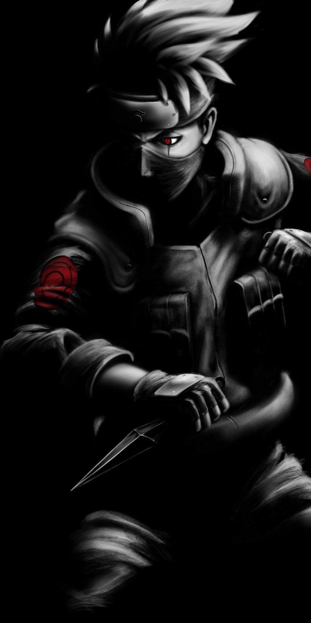 Kakashi Hatake, minimal, Naruto, 1080x2160 wallpaper