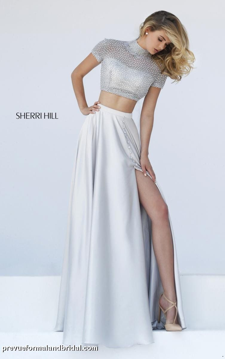 Sherri Hill two-piece silver gown. Silver prom dress. Silver evening ...