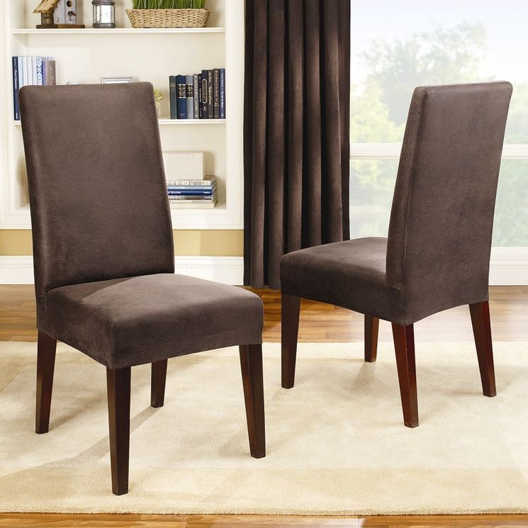 Stretch Leather Short Dining Chair Slipcover | Family room ...