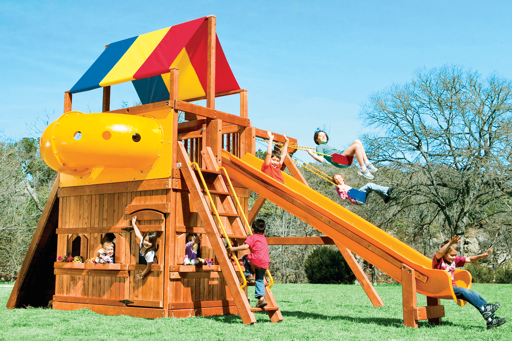 Castle Outdoor Swing Sets | Rainbow play systems, Club house