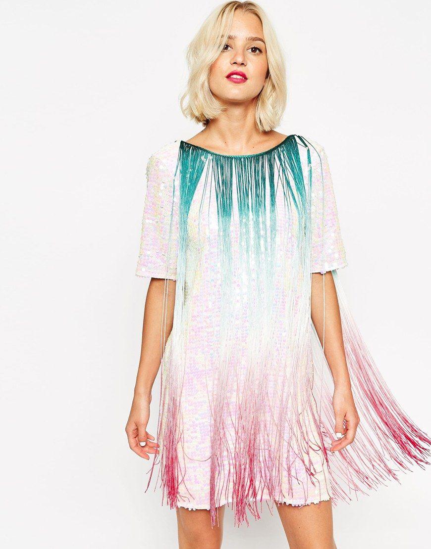 Image 1 of ASOS T-shirt Sequin Fringe Dress | Fashion | Pinterest ...