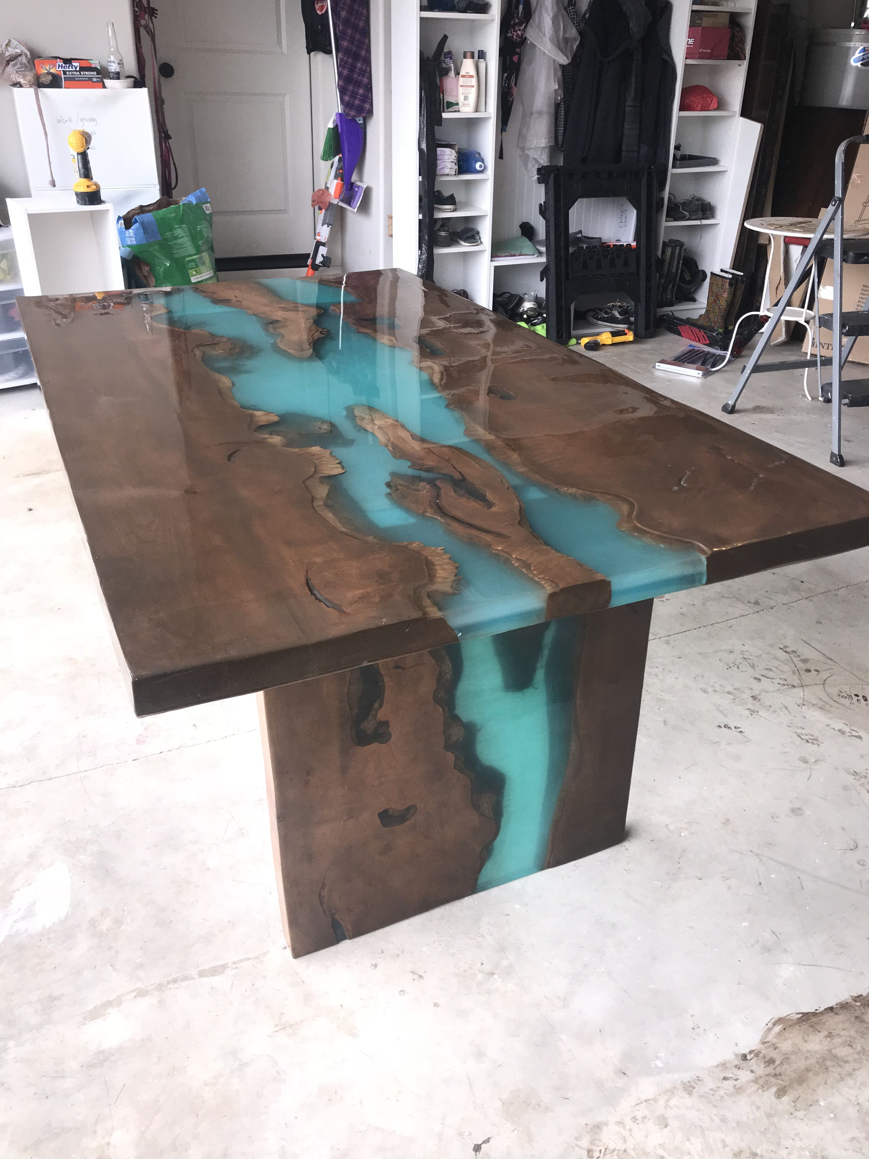 Couchtisch Plata Maple Live Edge Table With Turquoise Epoxy Furniture Slab Maple