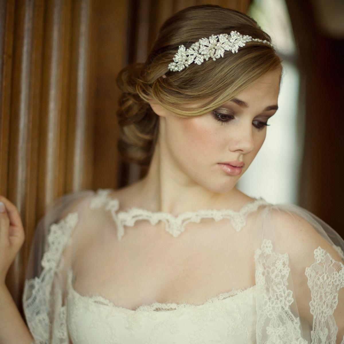 Tiaras wedding side tiara bridal necklace wedding bracelet tiara - Aye Do Ltd Evelyn Bridal Side Tiara Hdb2 Awj 102 00 Pearl Headband Wedding