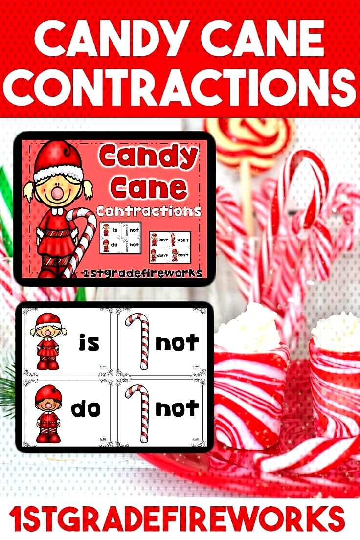 Candy Cane Contractions Contraction Matching Game Match two base words to the contraction they mak