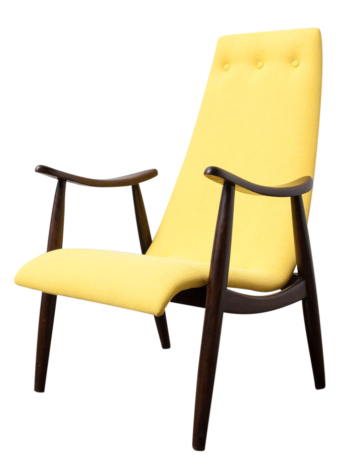 Beau Refinished Mid Century Modern High Backed Slipper Chair With New Lemon  Yellow Upholstery With Button Detailing And High Back With Re Finished Teak  Frame.