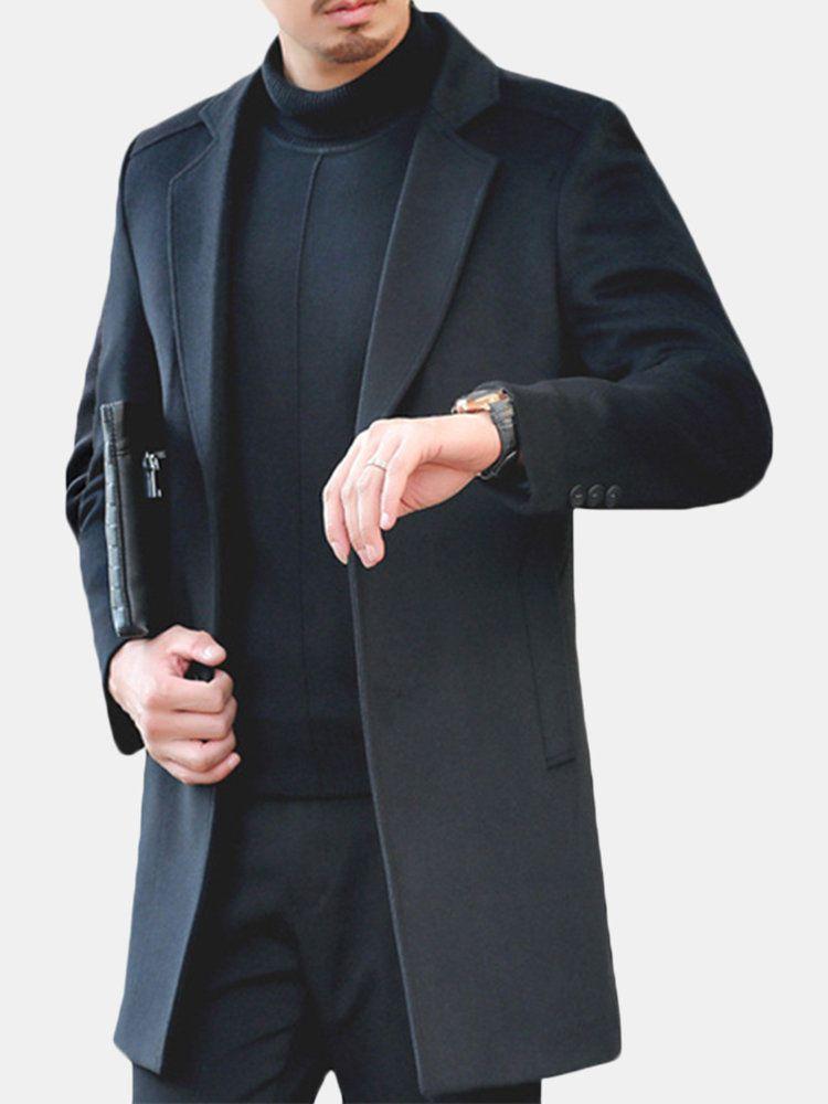 APTRO Mens Trench Wool Coat Long Gentleman Business Black Top Coat