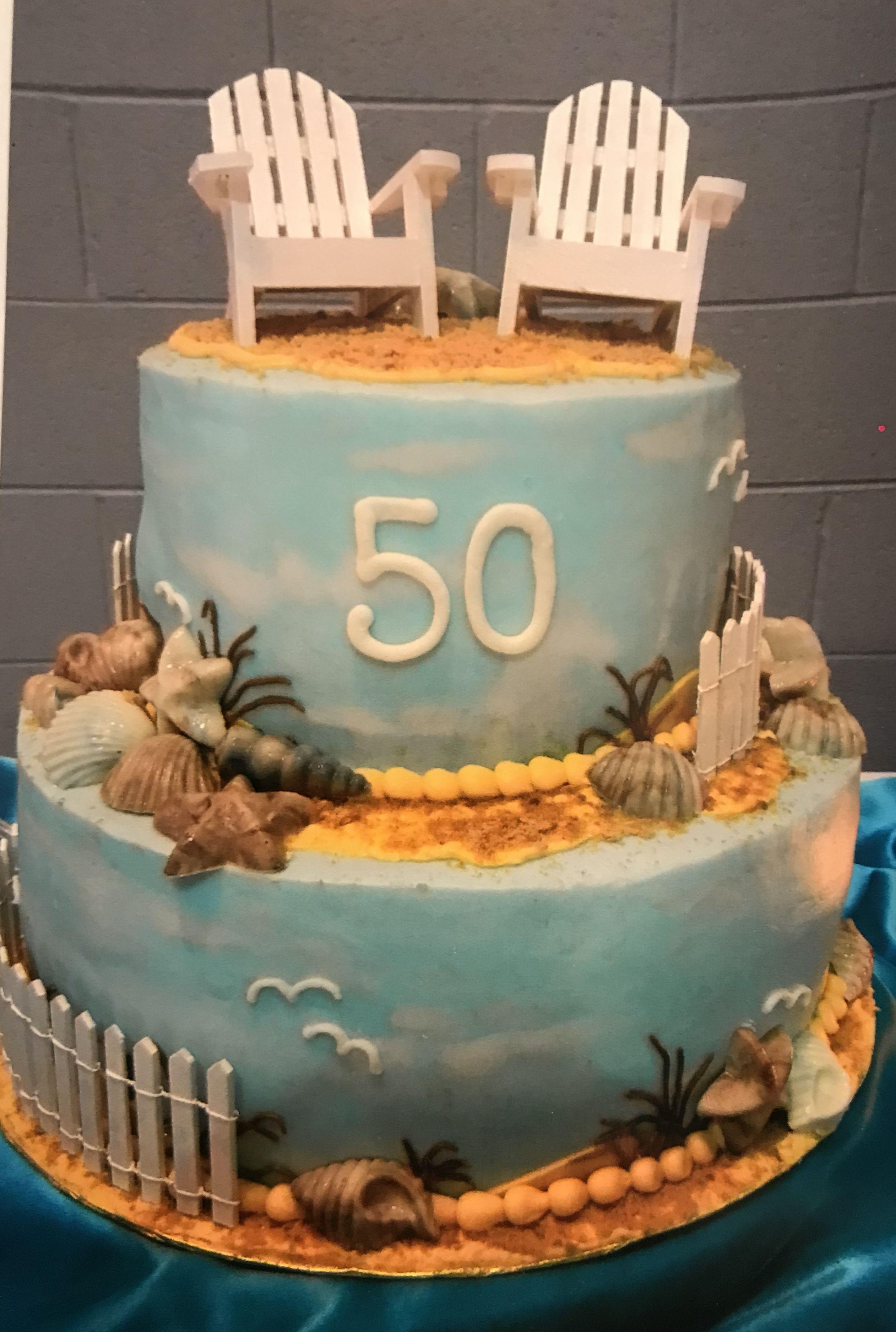 50th Beach Theme Cake Cake Beach Themed Cakes Themed Cakes