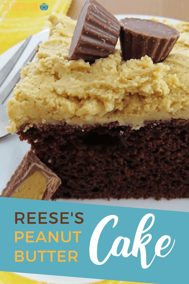 Reese's peanut butter cup cake Reese's Peanut Butter Cup Cake starts with a yummy chocolate boxed cake mix and topped with the most amazing Reese's peanut butter frosting!