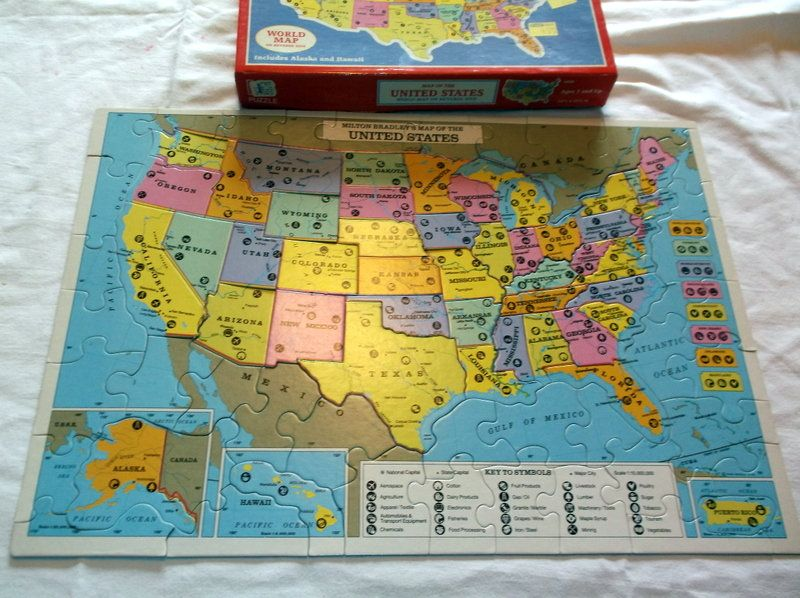 Puzzle Vintage 1988 United States Map Puzzle by Milton ...