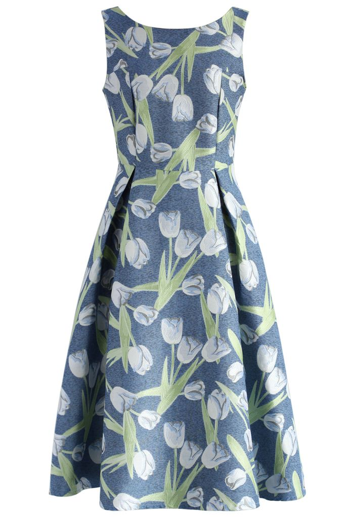 Silvery Tulip Jacquard Prom Dress - Dress - Retro, Indie and Unique ...