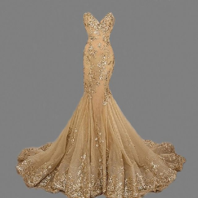 ZGS268 Gold Sequins Prom Dresses Luxury Mermaid Evening Gowns ...