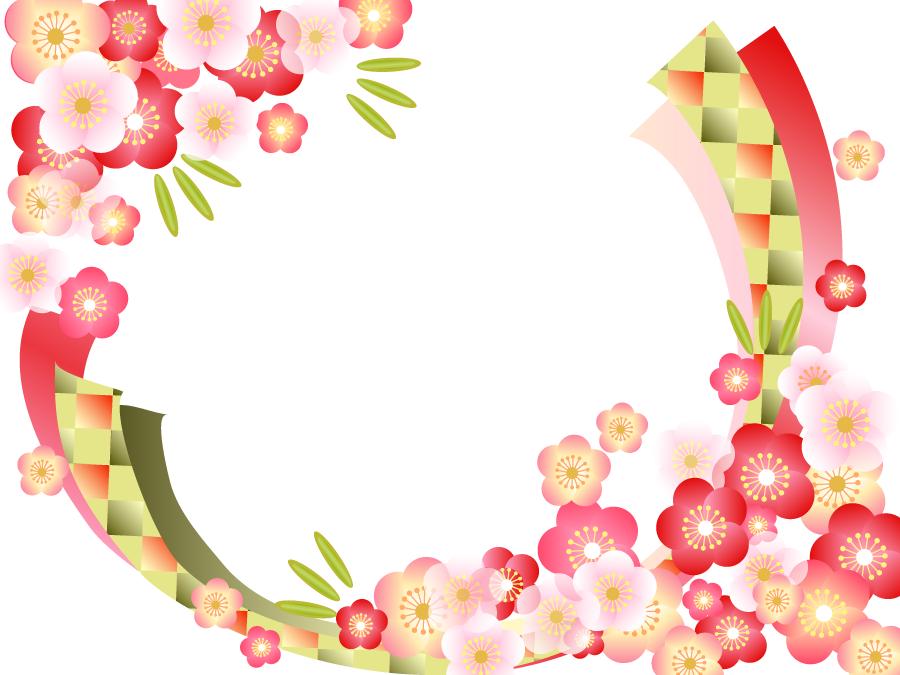 フリーイラスト 梅の花と竹の飾り枠 花 イラスト 飾り枠 正月 イラスト