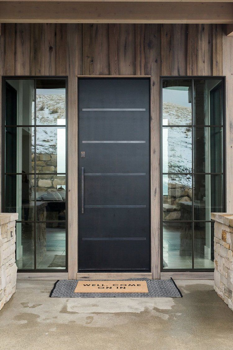 Modern Mountain Home With Stone Wood And Metal Exterior Modern - Porte placard coulissante jumelé avec serrurier ouverture de porte