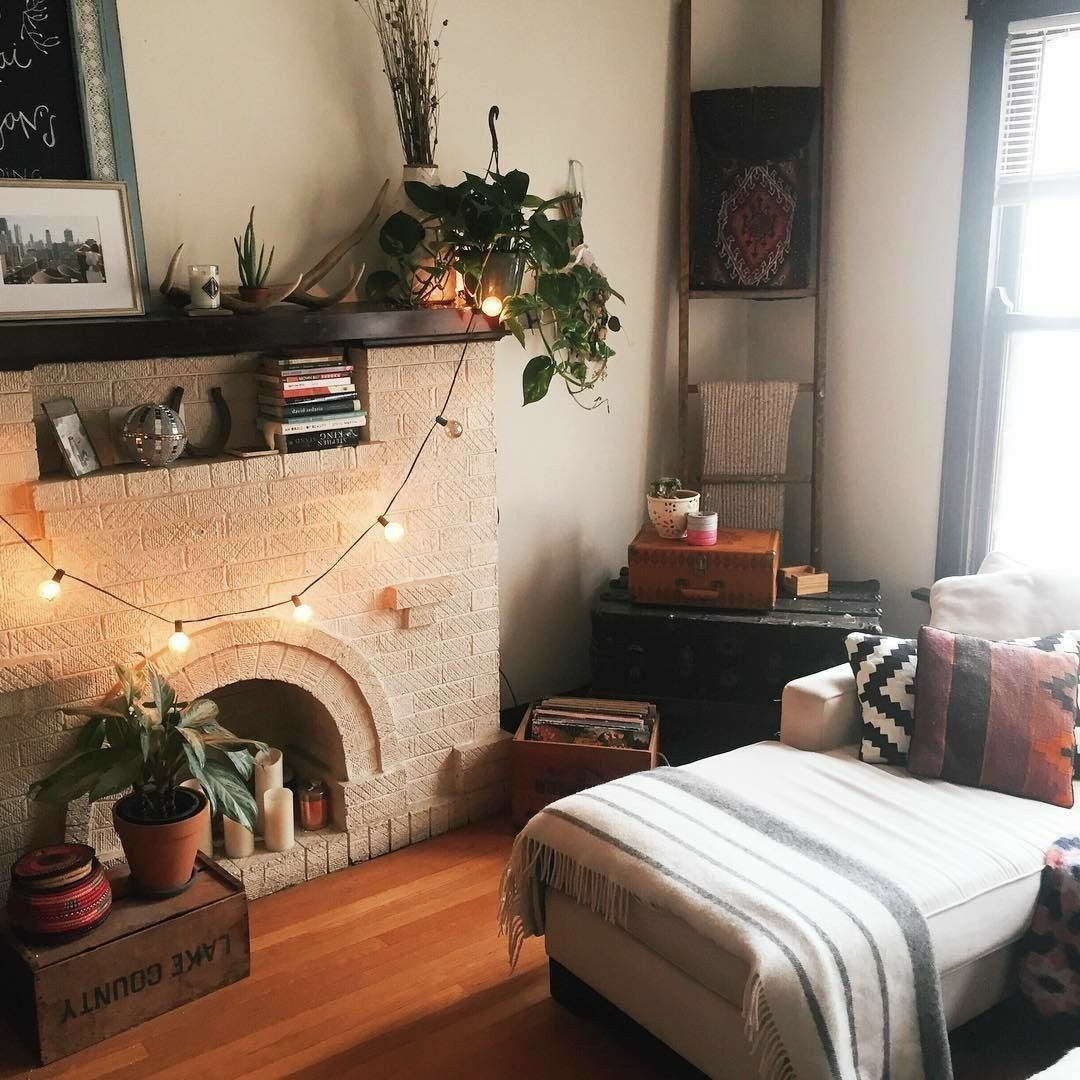 Bohemianrustic Decor With Couchfireplace Home  Pinterest Endearing Bohemian Living Room Design Design Inspiration