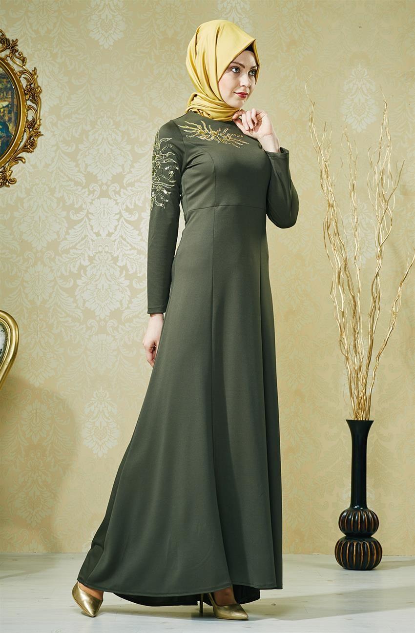 Tesettur Giyim Tesettur Elbiseler Hijab United Elbise Haki 6144 27