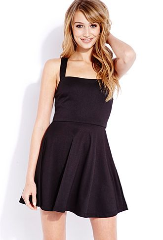 Posh Skater Dress | FOREVER21 - 2000065980 -- I have this dress in black, but I want it in Royal to turn into a TARDIS dress