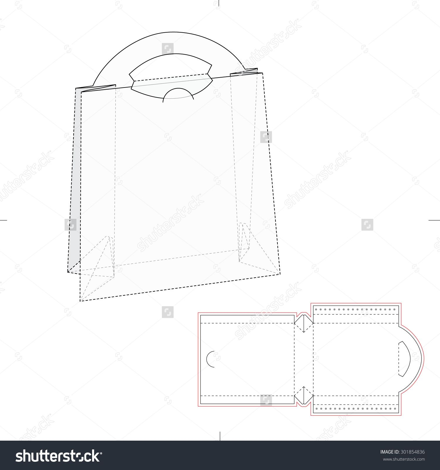 Paper bag with blueprint and layout stock vector illustration paper bag with blueprint and layout malvernweather Gallery