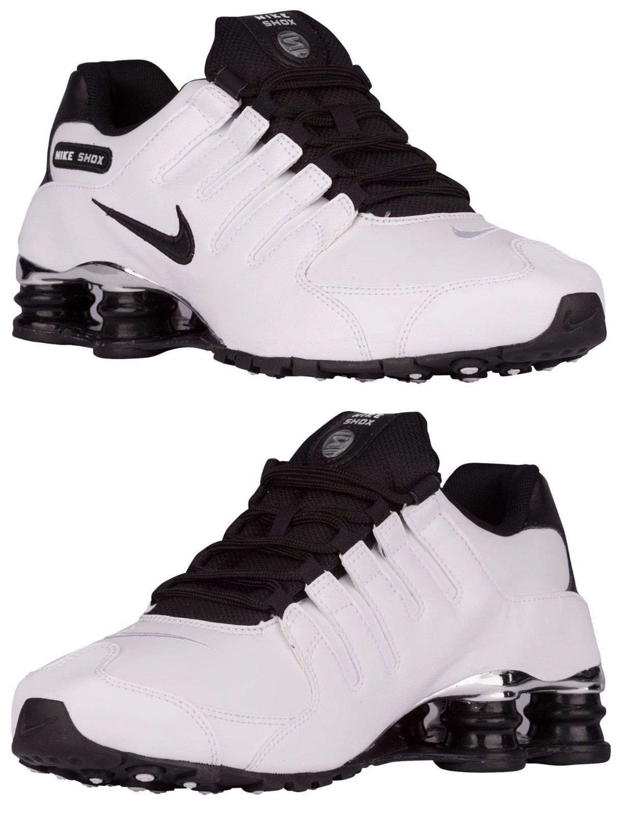 NIKE SHOX NZ PRE MEN s LEATHER M RUNNING WHITE - BLACK - WOLF GREY  AUTHENTIC NEW 4ee40fa8d