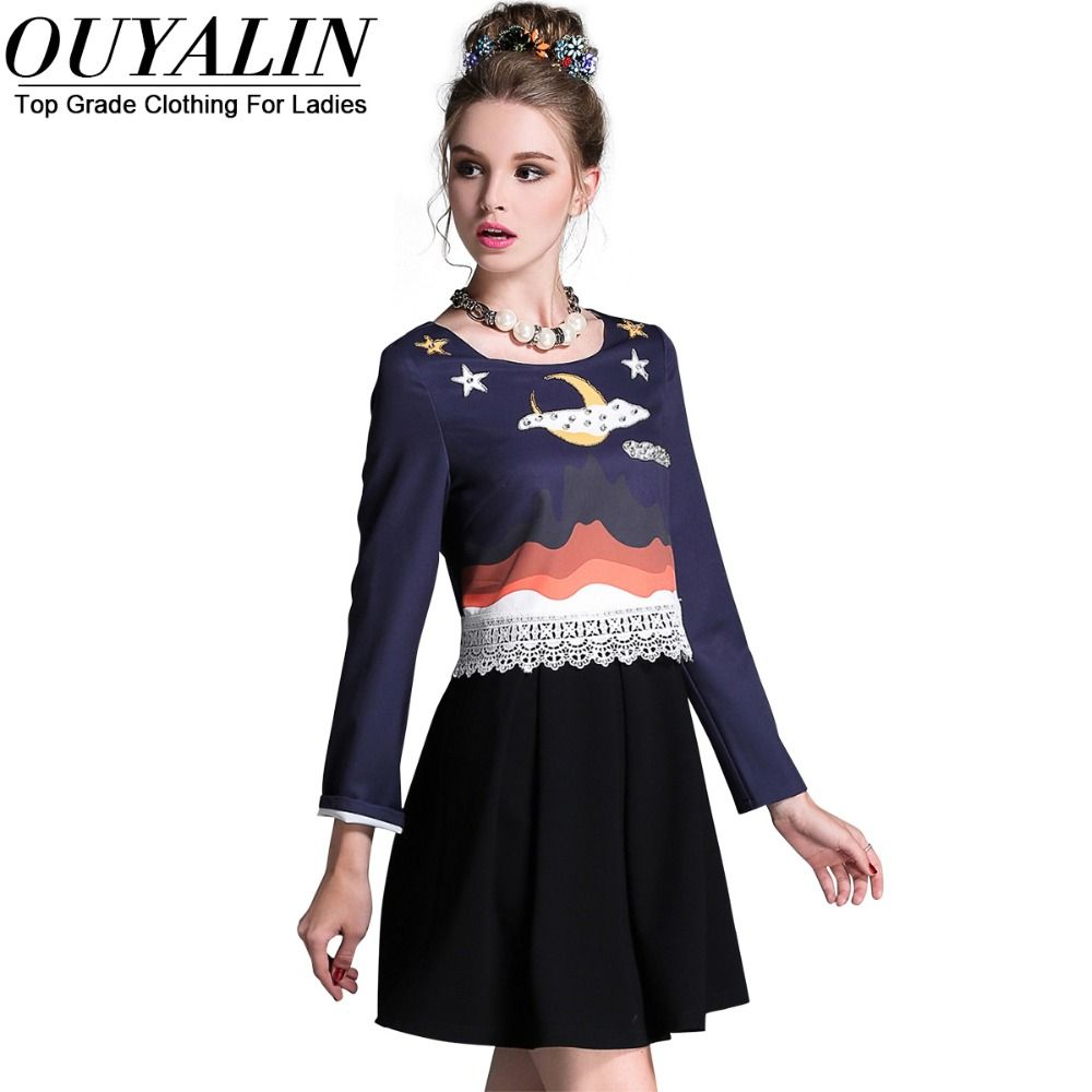 L xl beading star pleated dress fall casual long sleeve o neck