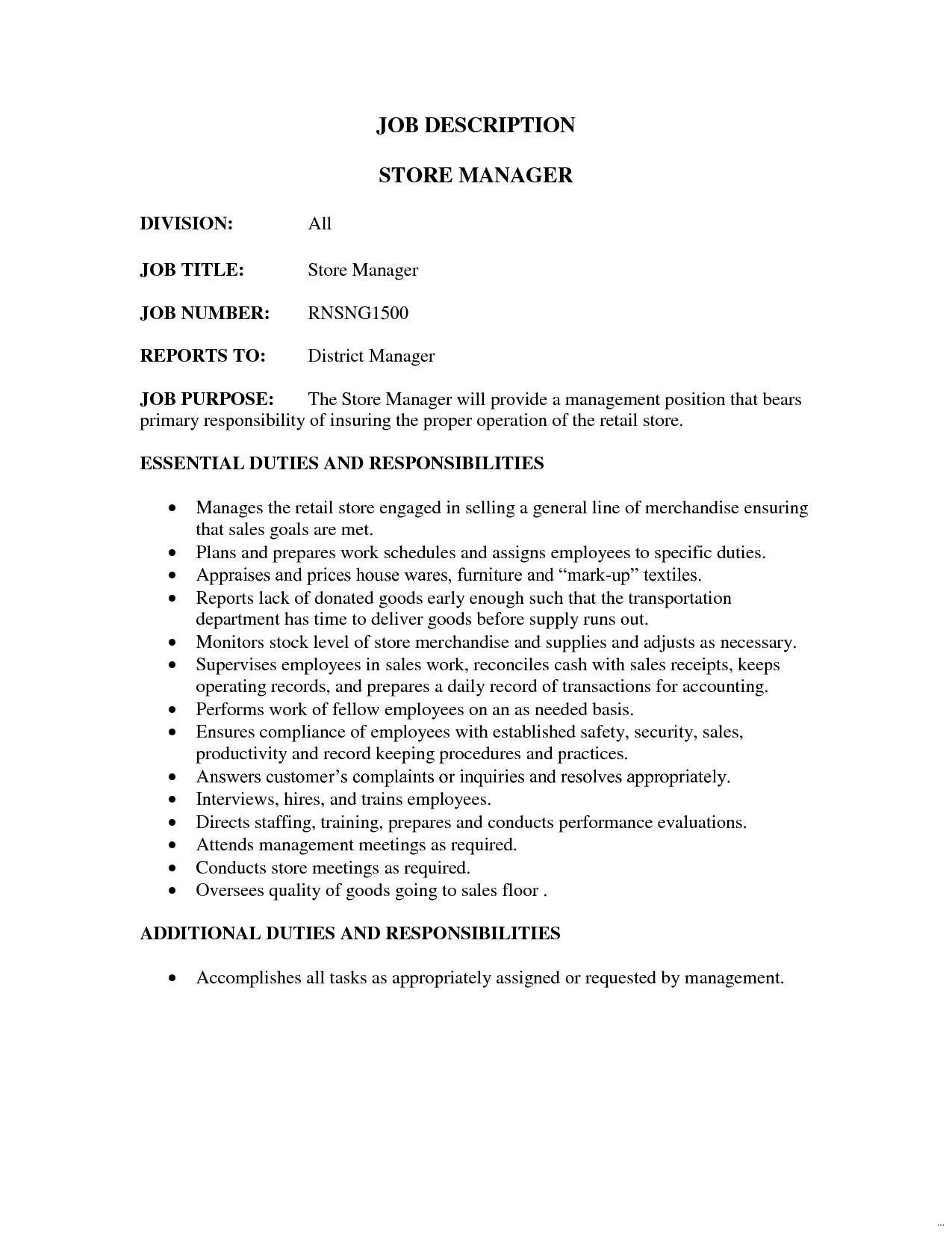 Retail job description revolutionary store manager sales resume ...