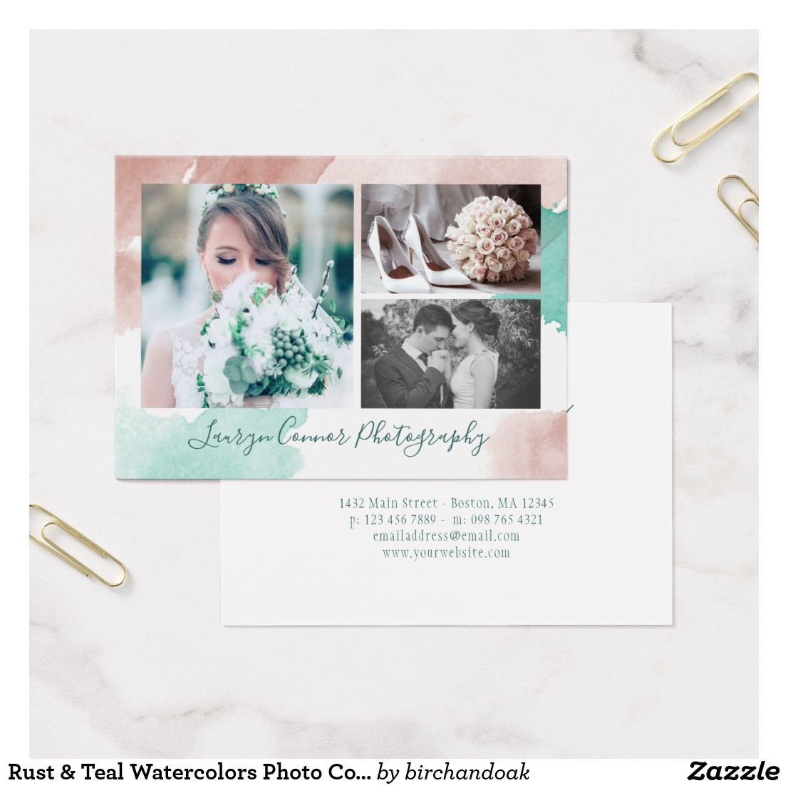 Rust teal watercolors photo collage photographer business card rust teal watercolors photo collage photographer business card colourmoves