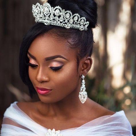 tiara  beautiful bridal makeup hairdo wedding black