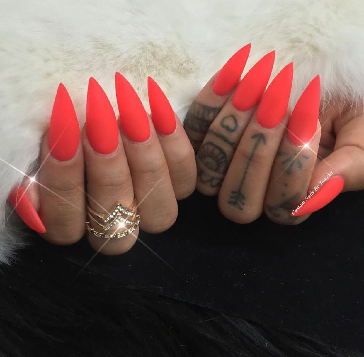 Red Orange Stiletto Nails Red Stiletto Nails Luxury Nails Nails