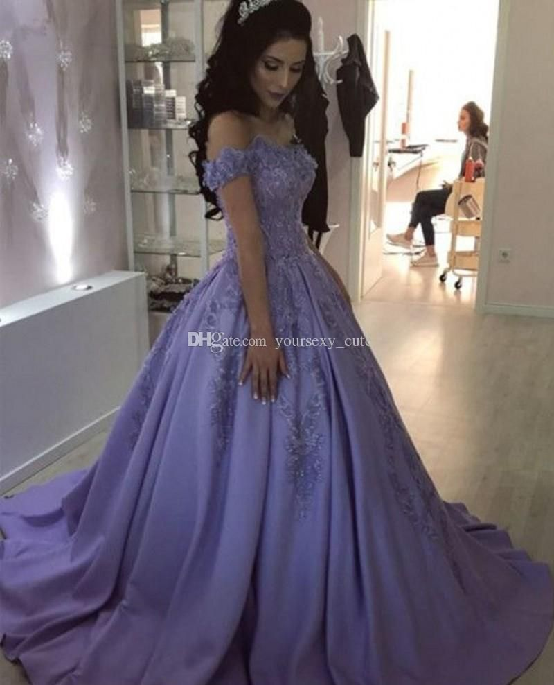 478af5d0103 Off The Shoulder Quinceanera Dresses 2018 Appliques Lace Satin Lavender Ball  Gown Prom Dresses Sweet 16 Dresses Customize Quinceanera Dresses Gothic ...