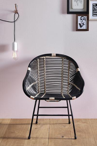 Capri Black U0026 Natural Rattan Chair   Dining Chairs   ALL SEATING   Furniture