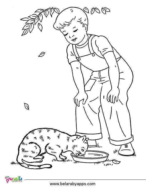 رسومات عن الرفق بالحيوان للتلوين جاهزة للطباعة للاطفال بالعربي نتعلم Coloring Pages For Boys Coloring Pages Cat Coloring Page